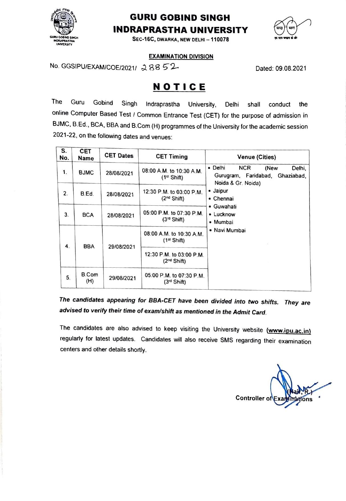 IPU CET 2021 exam dates